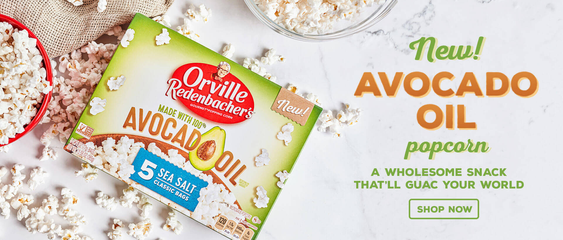 New! Avocado Oil Popcorn. A Wholesome Snack That'll Guac Your World. Shop Now.